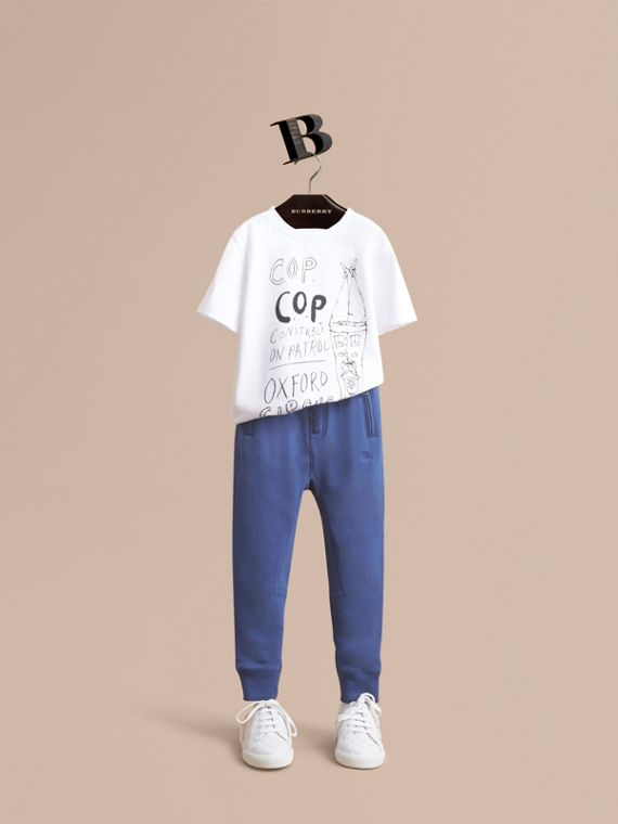 Drawcord Cotton Sweatpants in Marine Blue