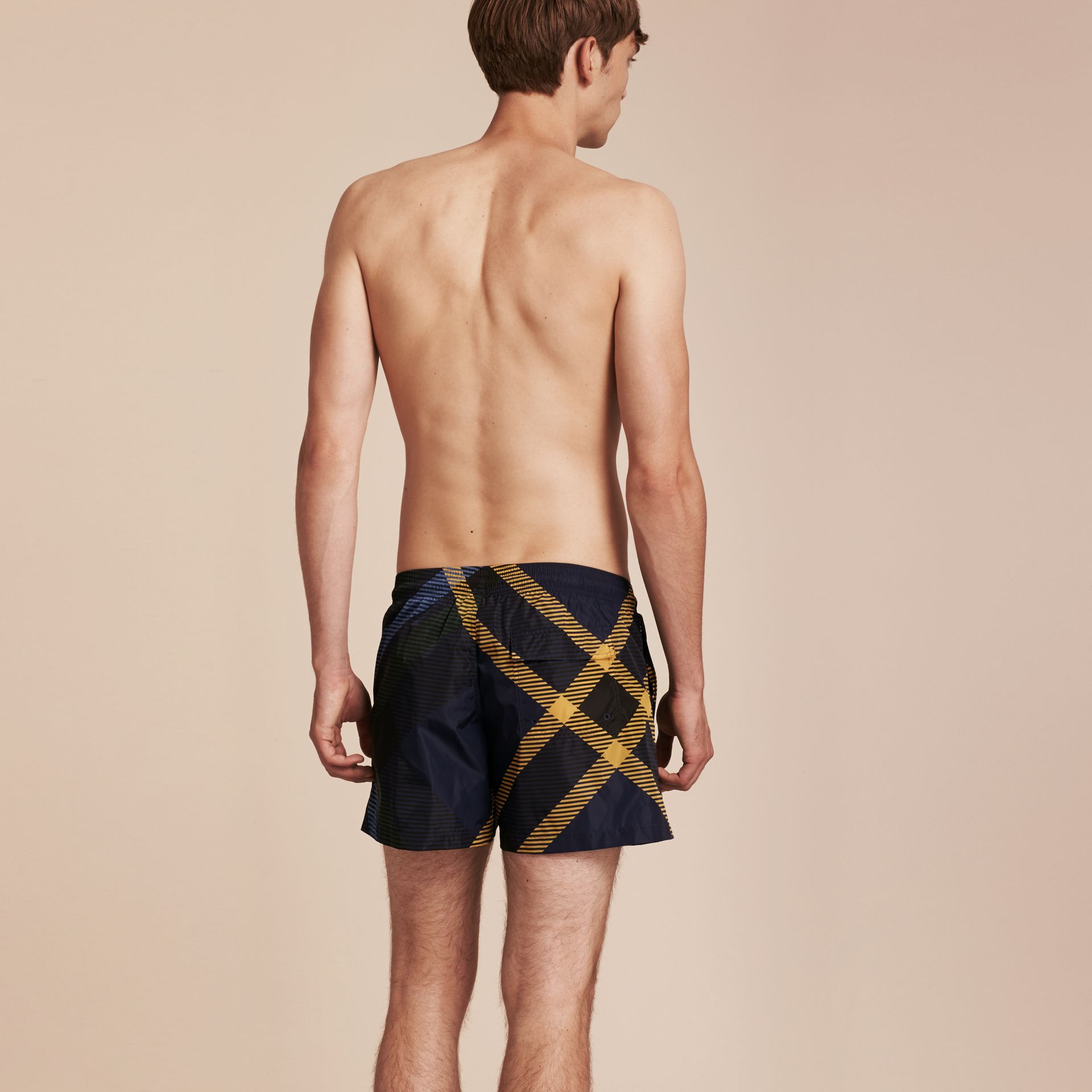 Navy Abstract Check Swim Shorts - gallery image 3