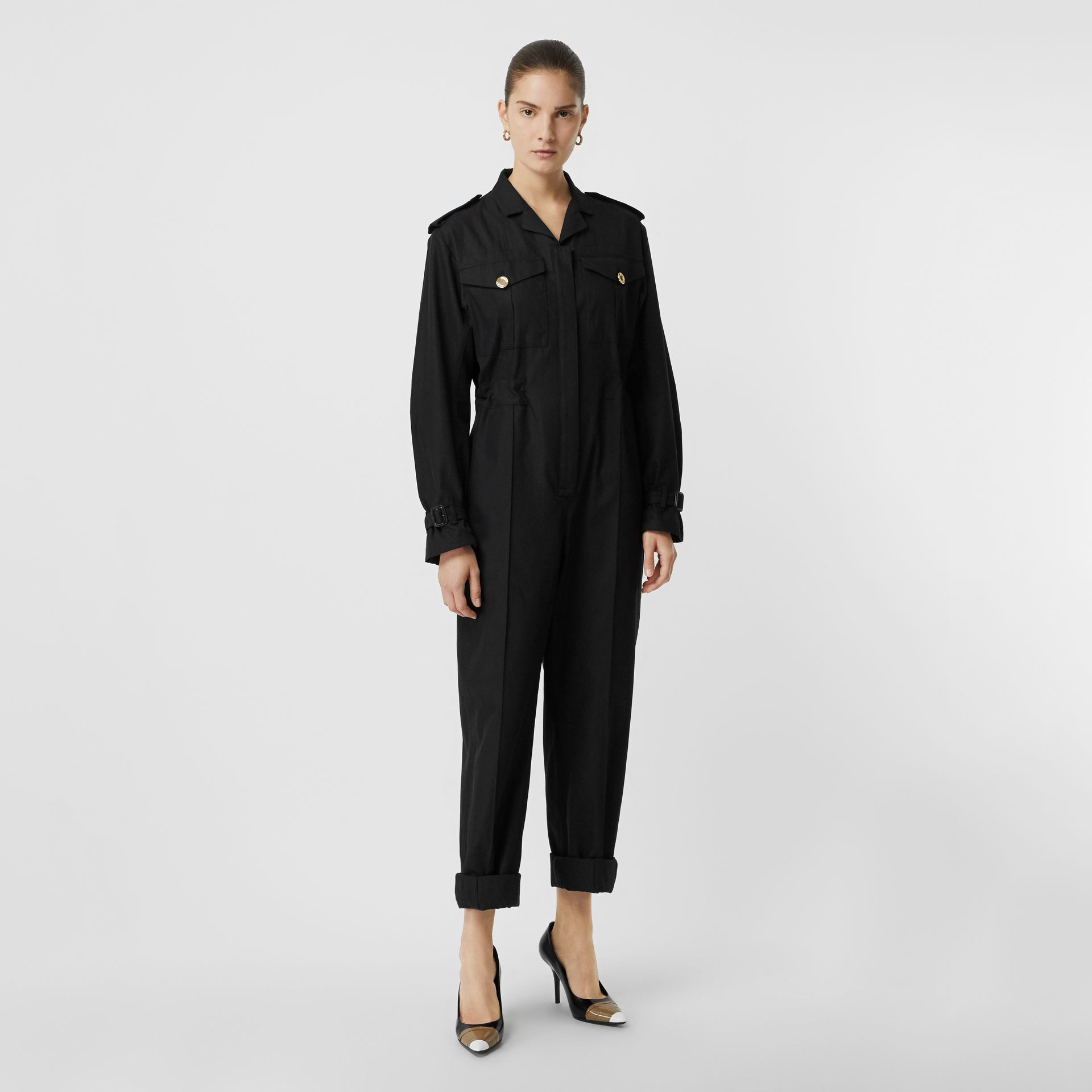 Cotton Gabardine Jumpsuit in Black - Women | Burberry Singapore - gallery image 5