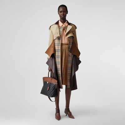 Deconstructed Cotton and Lambskin Trench Coat in Honey Women | Burberry
