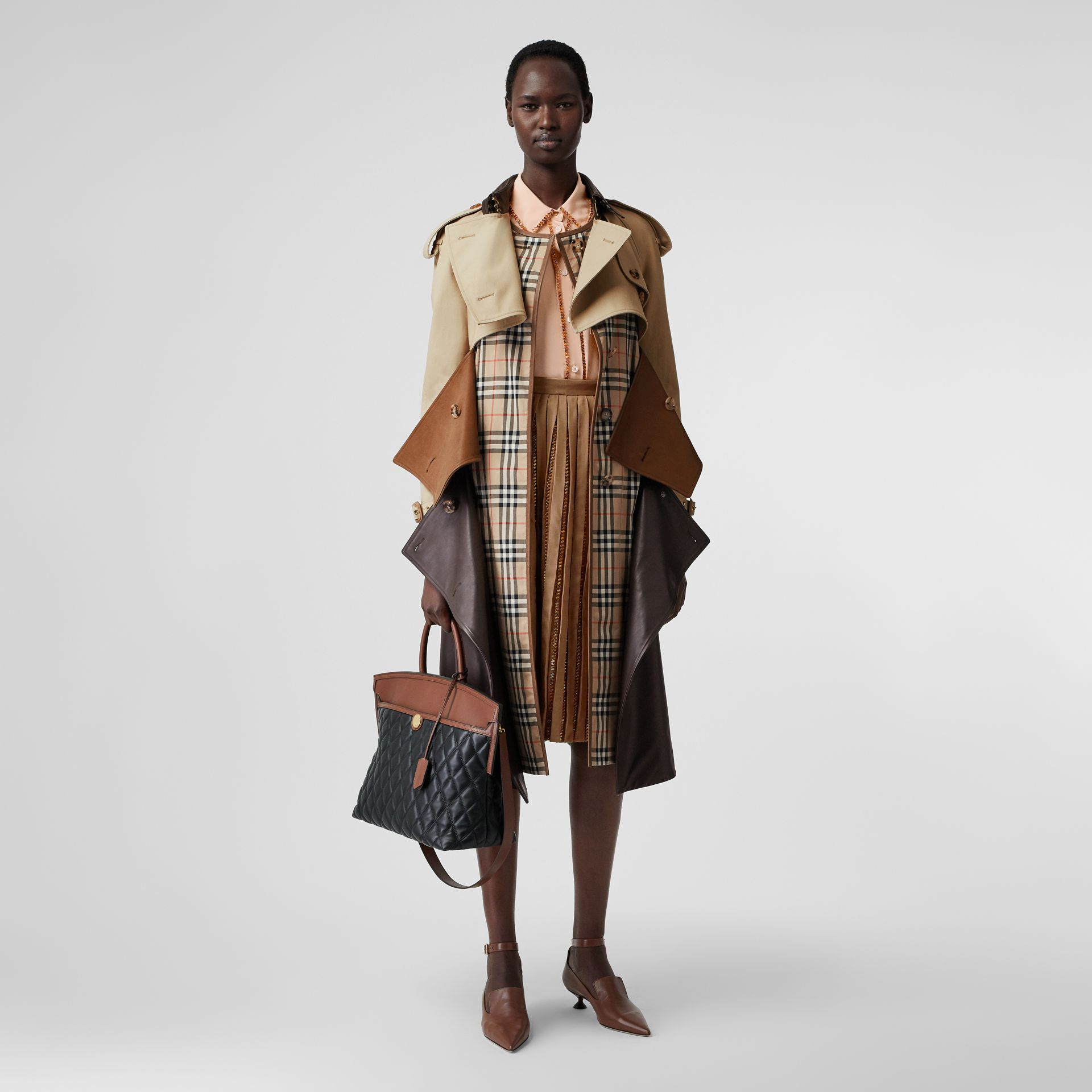 Deconstructed Cotton and Lambskin Trench Coat in Honey - Women | Burberry - gallery image 0