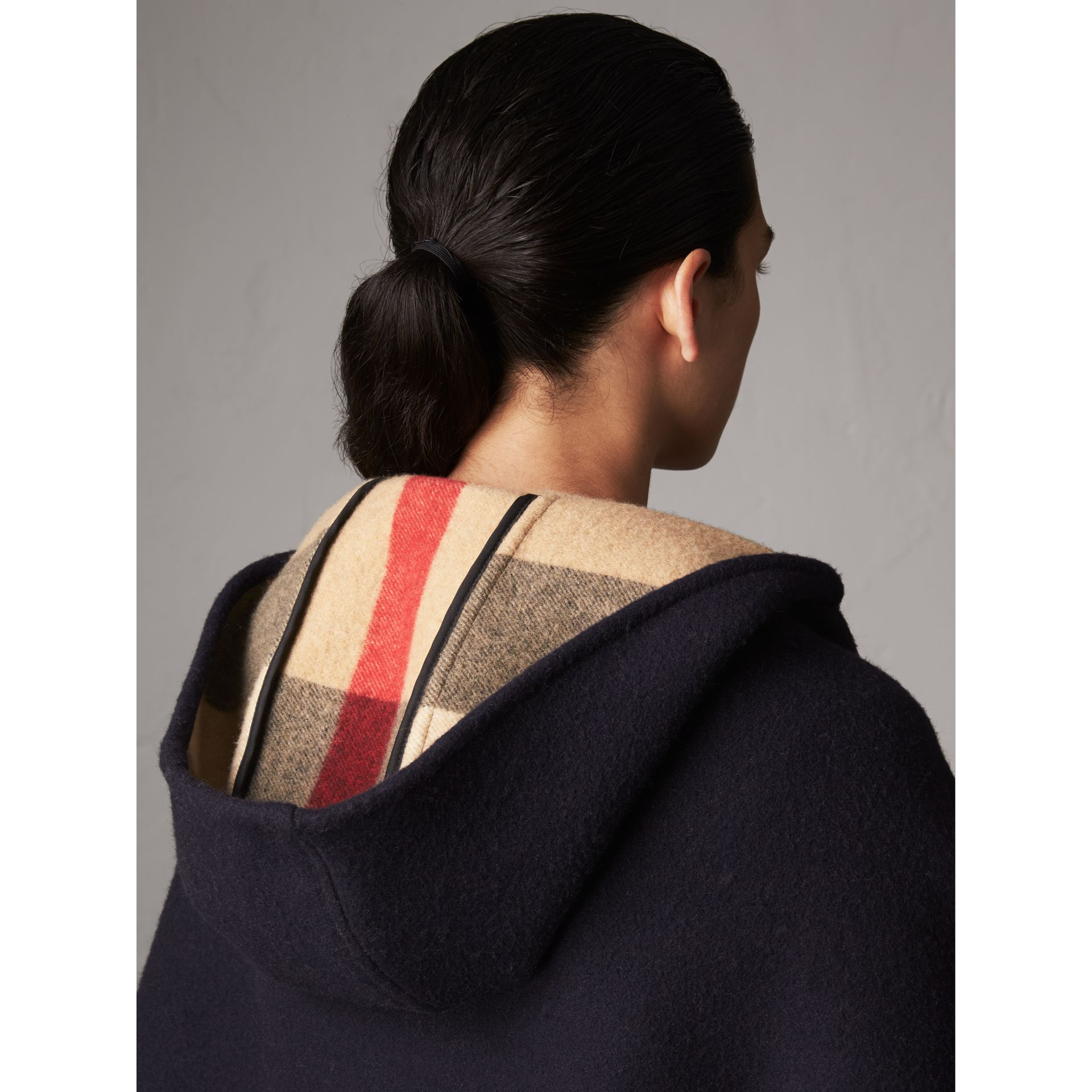 Check-lined Wool Cashmere Hooded Wrap in Navy/camel - Women | Burberry - gallery image 1