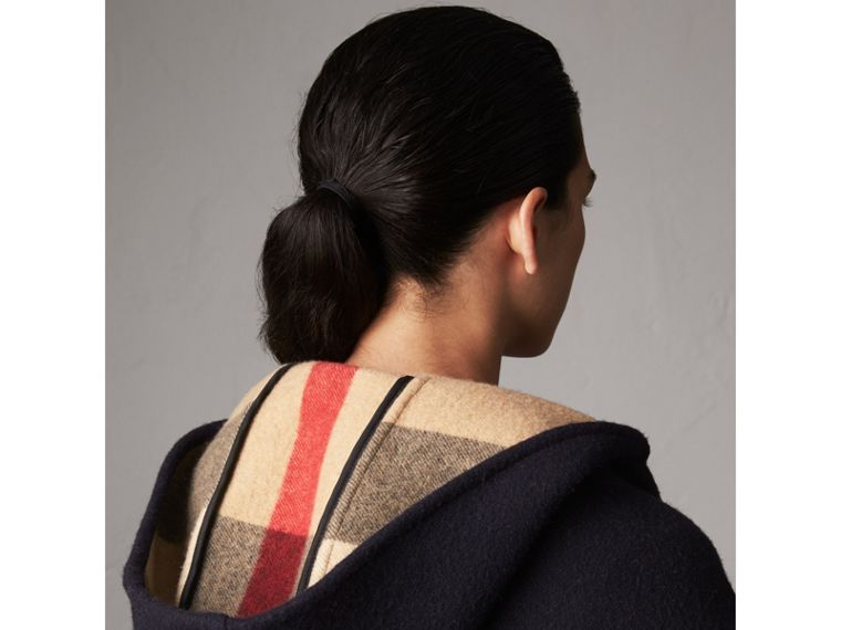 Check-lined Wool Cashmere Hooded Stole in Navy/camel - Women | Burberry - cell image 1