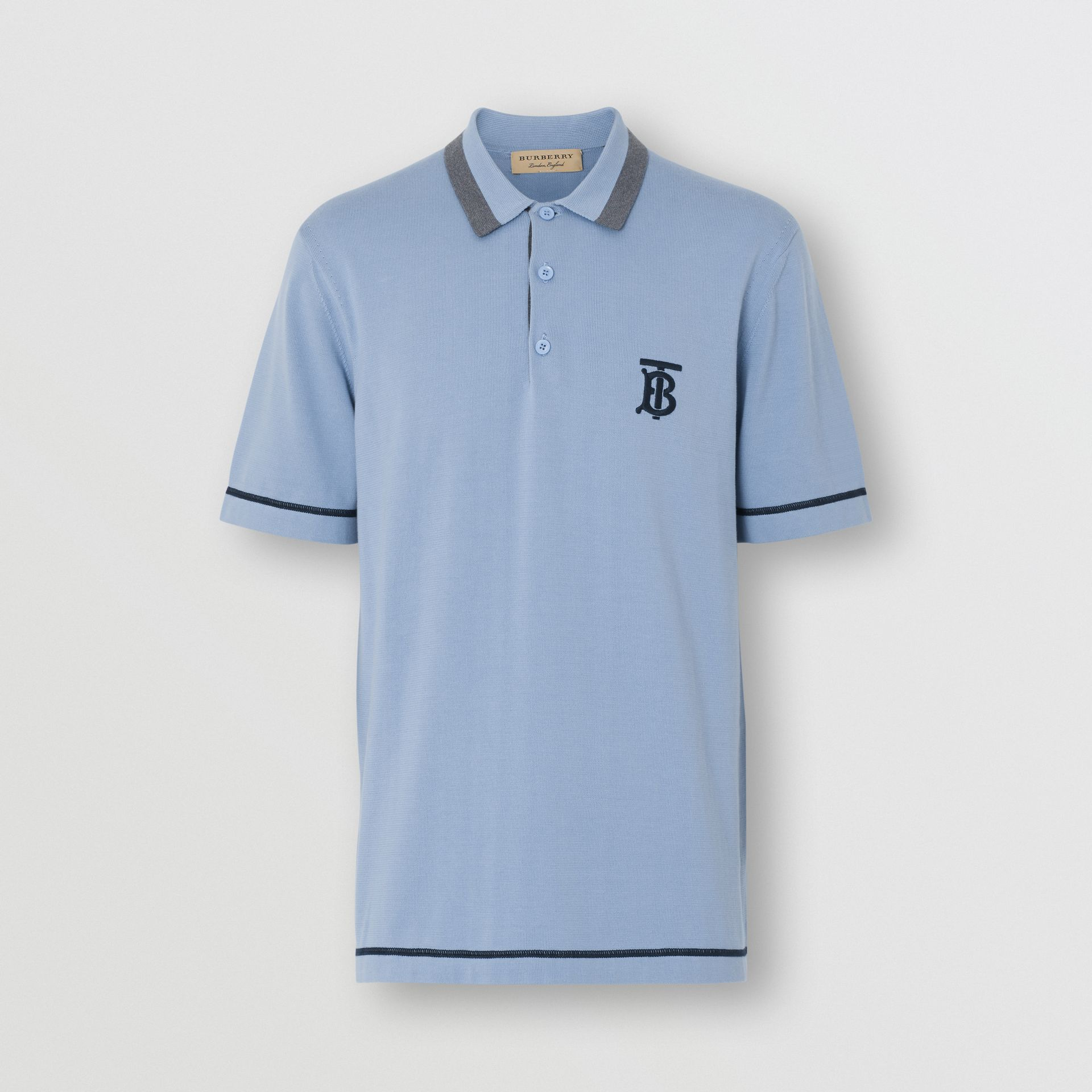 Monogram Motif Tipped Cotton Polo Shirt in Baby Blue - Men | Burberry United Kingdom - gallery image 3
