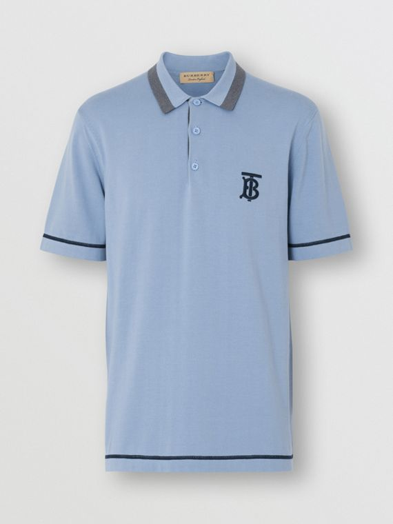Monogram Motif Tipped Cotton Polo Shirt in Baby Blue