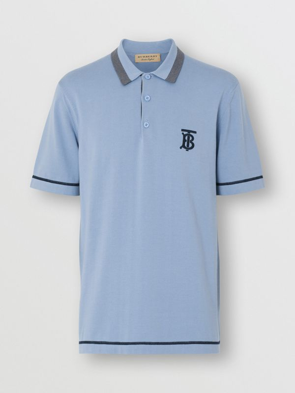 Monogram Motif Tipped Cotton Polo Shirt in Baby Blue - Men | Burberry Australia - cell image 3