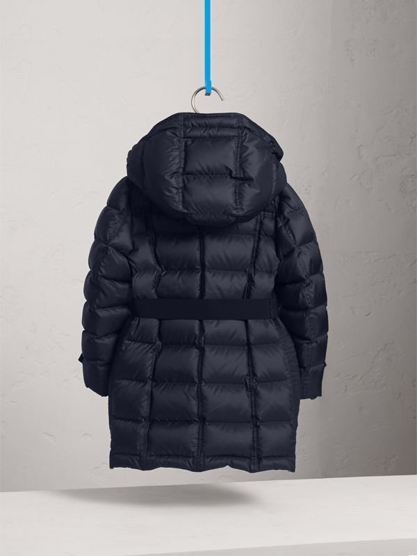 Detachable Hood Down-filled Coat in Navy | Burberry - cell image 3