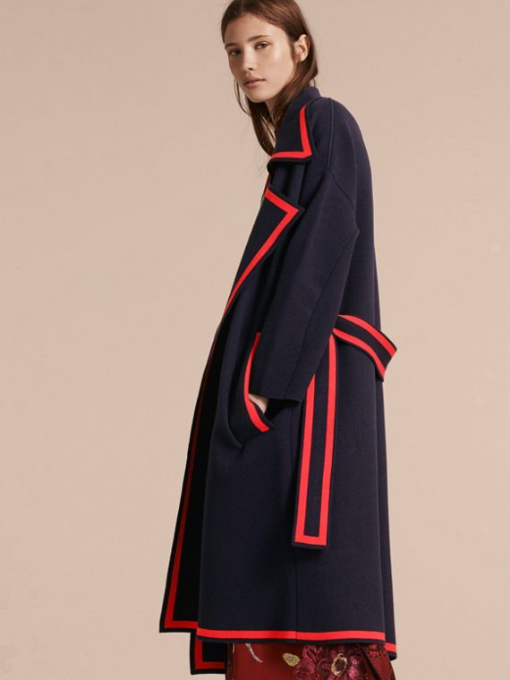 Navy Stretch Wool Cashmere Wrap Cardigan Coat - cell image 2