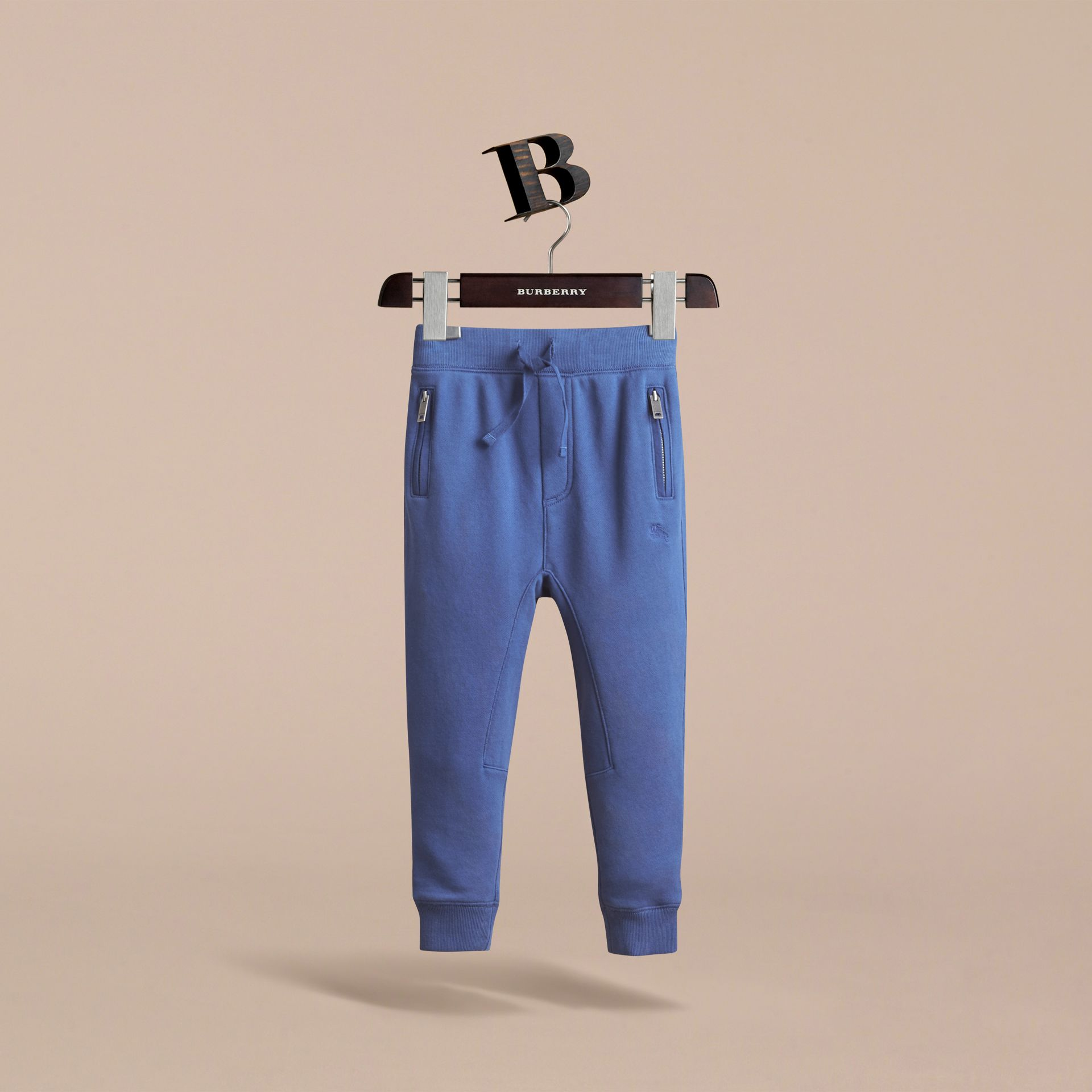 Drawcord Cotton Sweatpants in Marine Blue - Boy | Burberry - gallery image 2