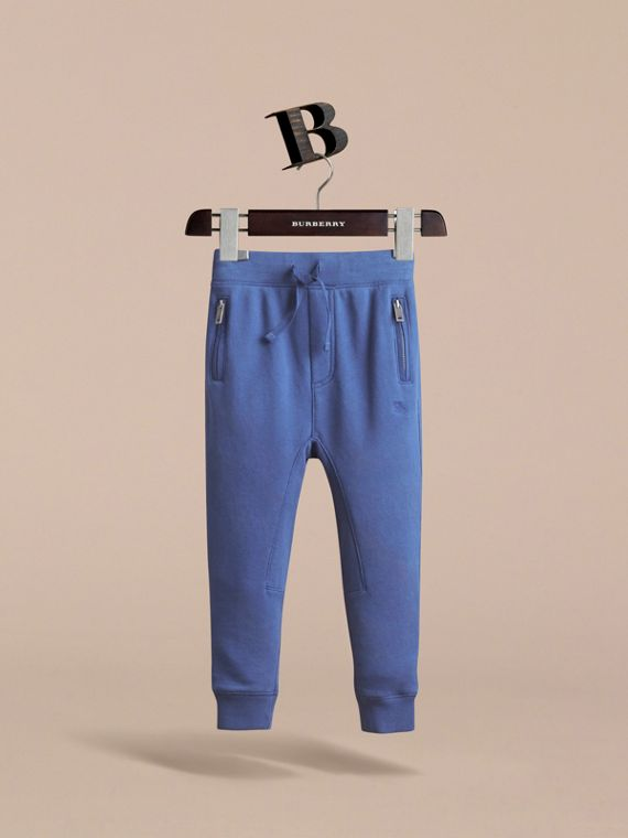 Drawcord Cotton Sweatpants in Marine Blue - Boy | Burberry - cell image 2