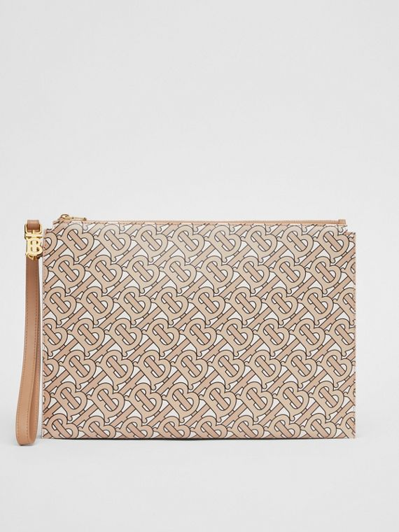 Monogram Print Leather Pouch in Beige