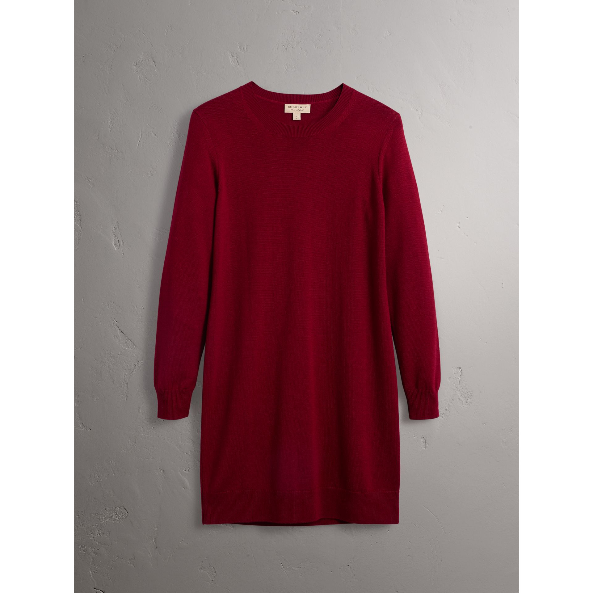 Check Elbow Detail Merino Wool Sweater Dress in Burgundy - Women | Burberry - gallery image 4