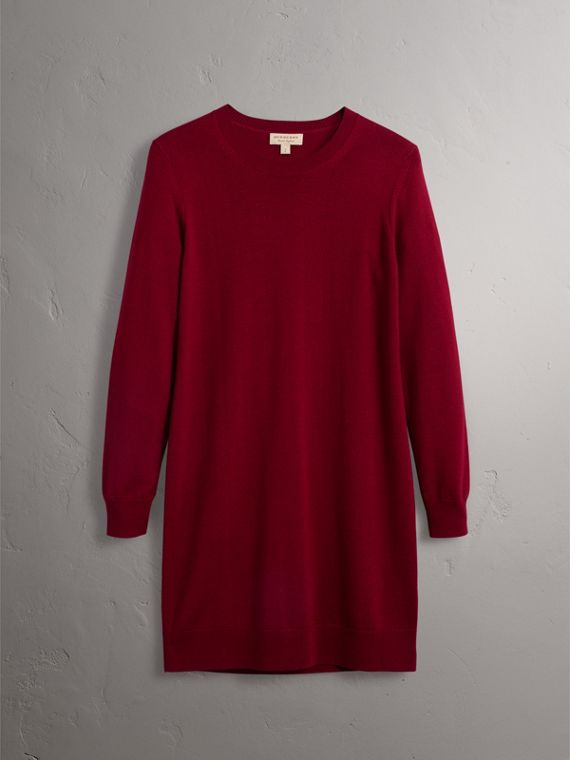 Check Elbow Detail Merino Wool Sweater Dress in Burgundy - Women | Burberry Canada - cell image 3