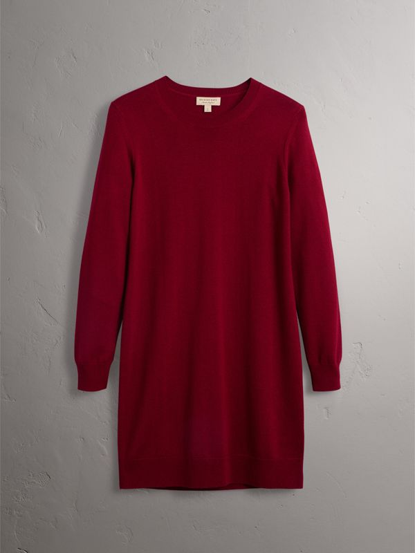 Check Elbow Detail Merino Wool Sweater Dress in Burgundy - Women | Burberry - cell image 3