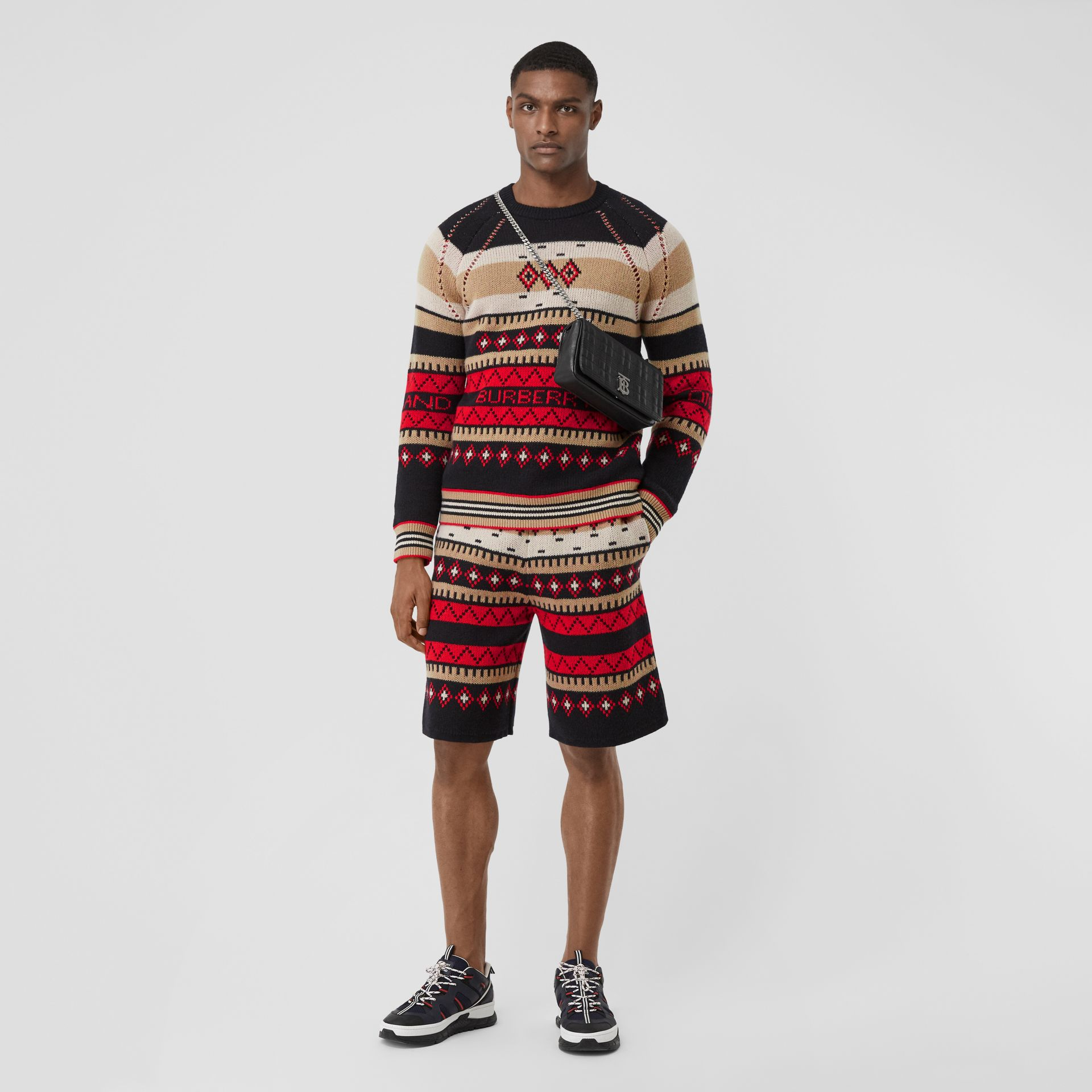 Icon Stripe Detail Fair Isle Cashmere Sweater in Black - Men | Burberry - gallery image 5