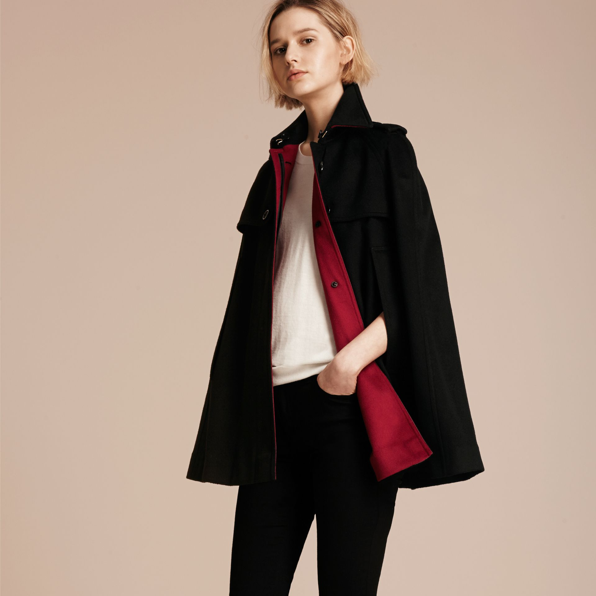 Black Cashmere Military Cape Coat - gallery image 6