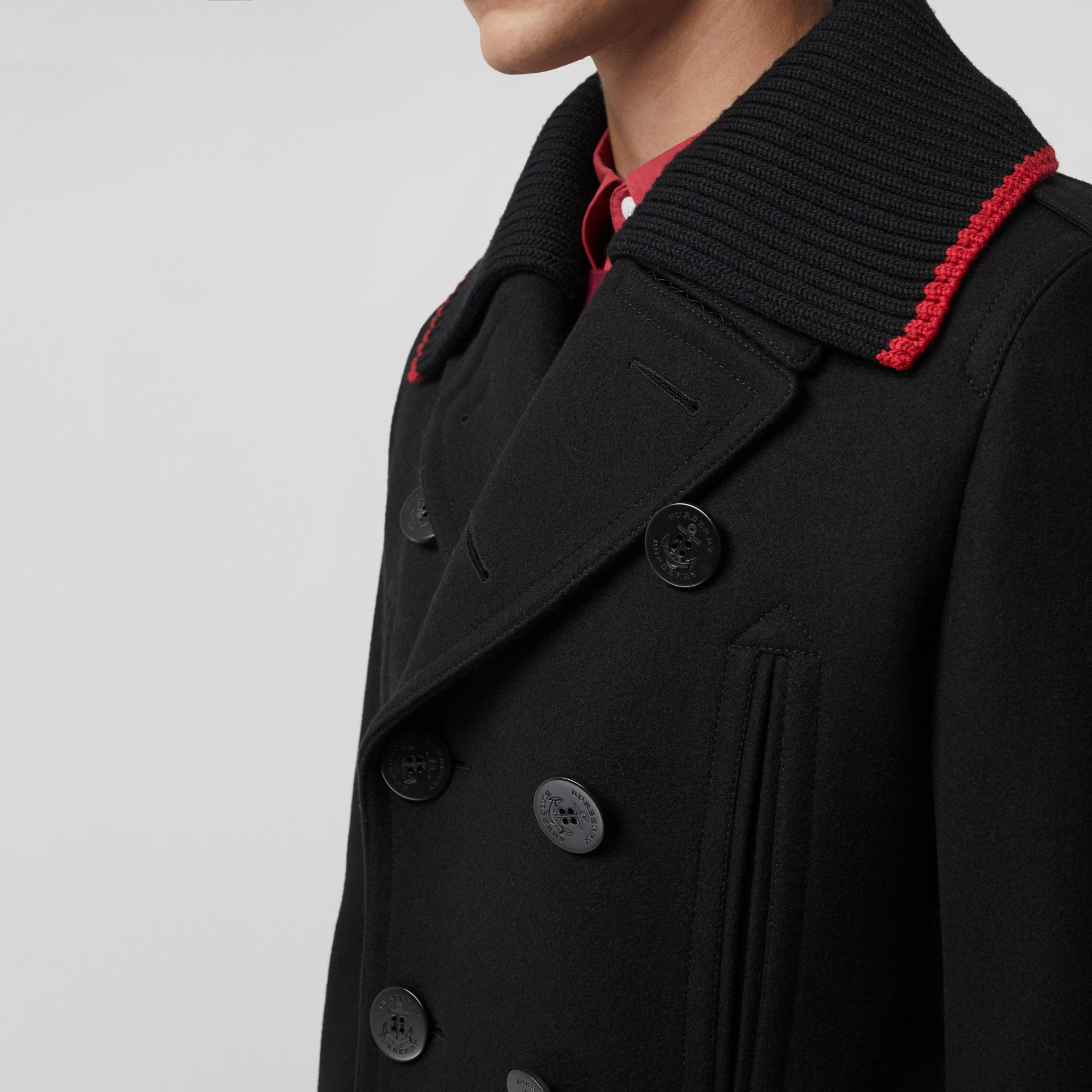 Detachable Knit Collar Wool Cashmere Pea Coat in Black - Men | Burberry United Kingdom - gallery image 3