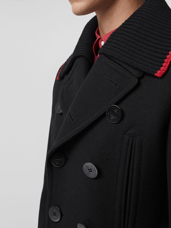Detachable Knit Collar Wool Cashmere Pea Coat in Black - Men | Burberry - cell image 3