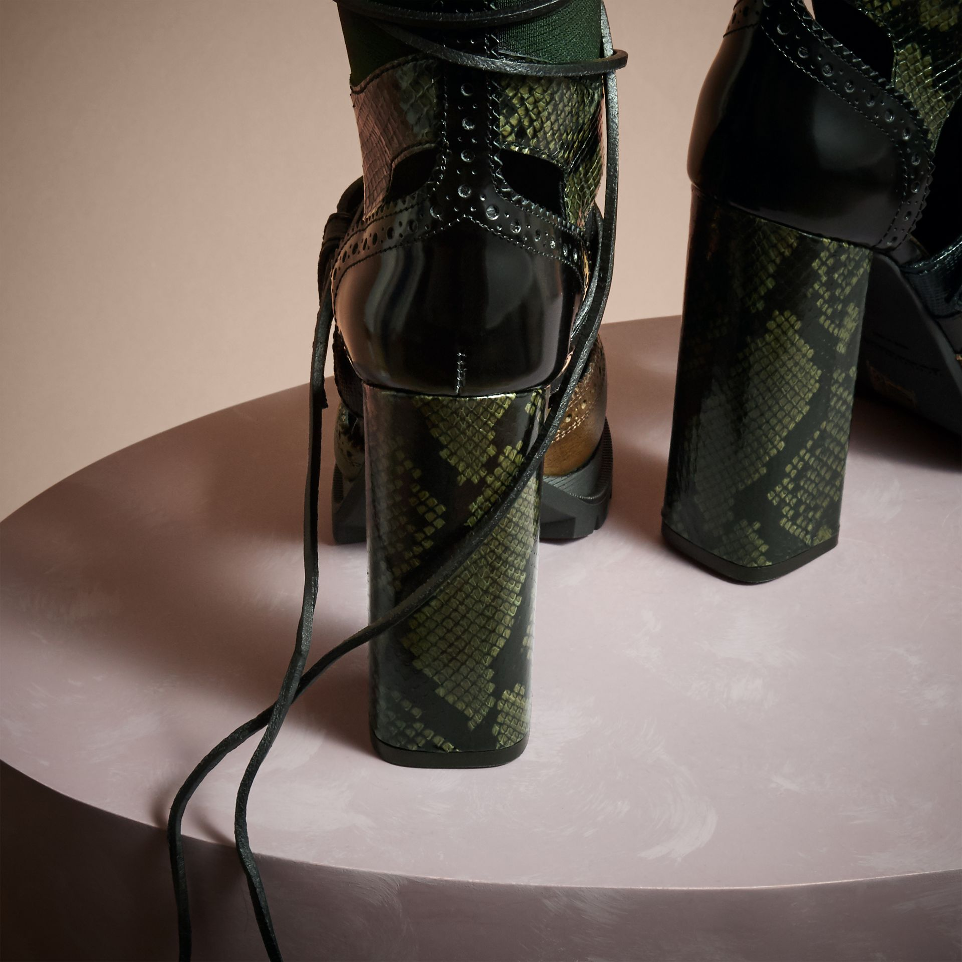 Deep green Leather and Snakeskin Cut-out Platform Boots Deep Green - gallery image 4