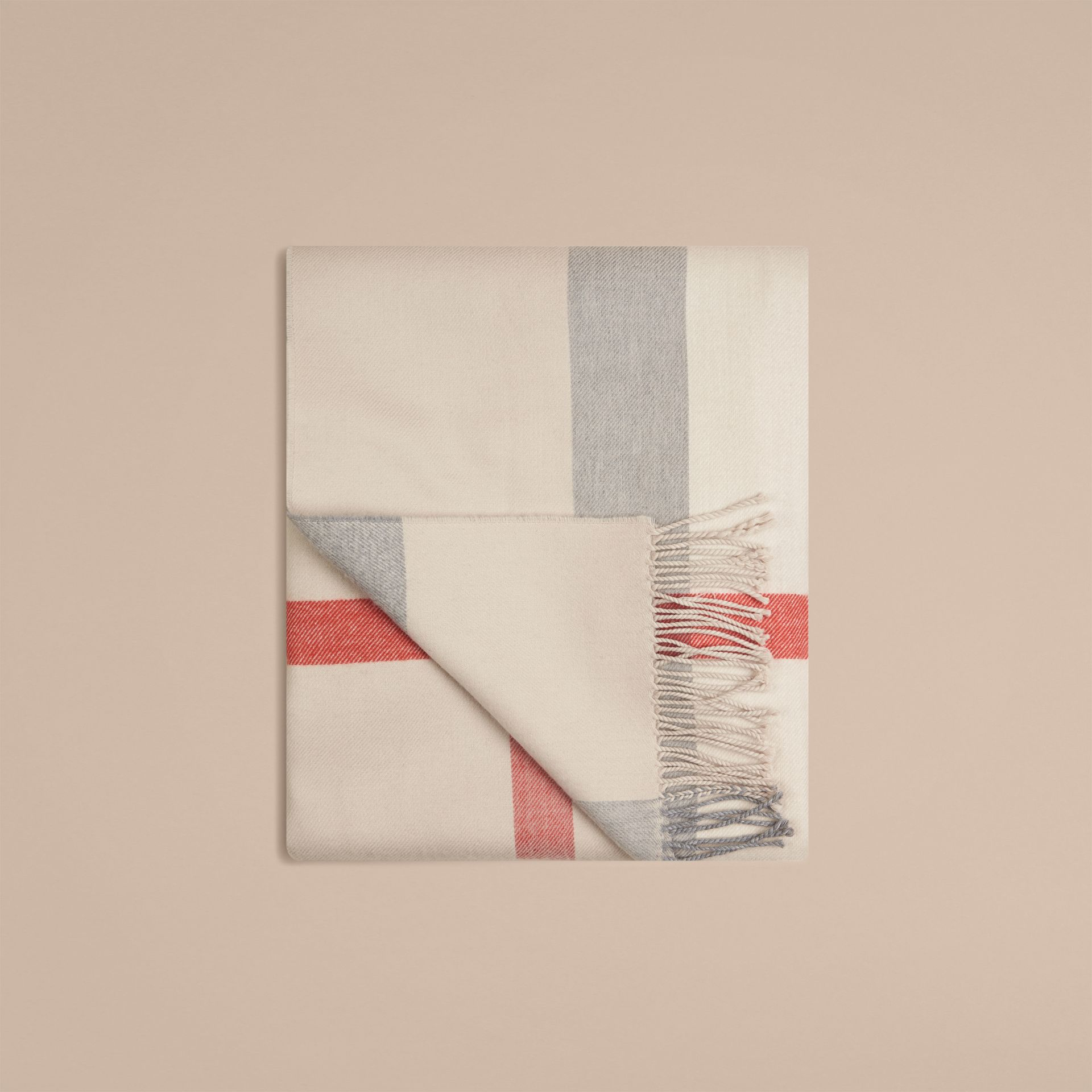 Check Merino Wool Baby Blanket in Stone | Burberry Australia - gallery image 3
