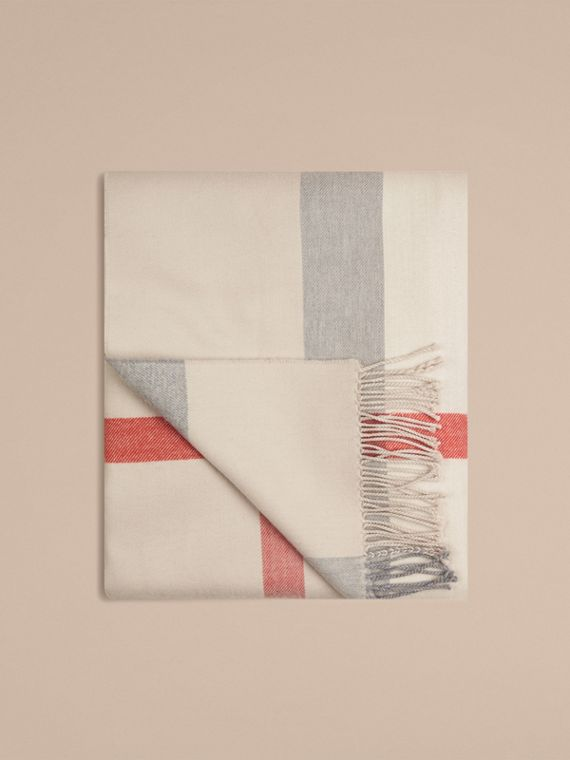 Check Merino Wool Baby Blanket in Stone | Burberry - cell image 2