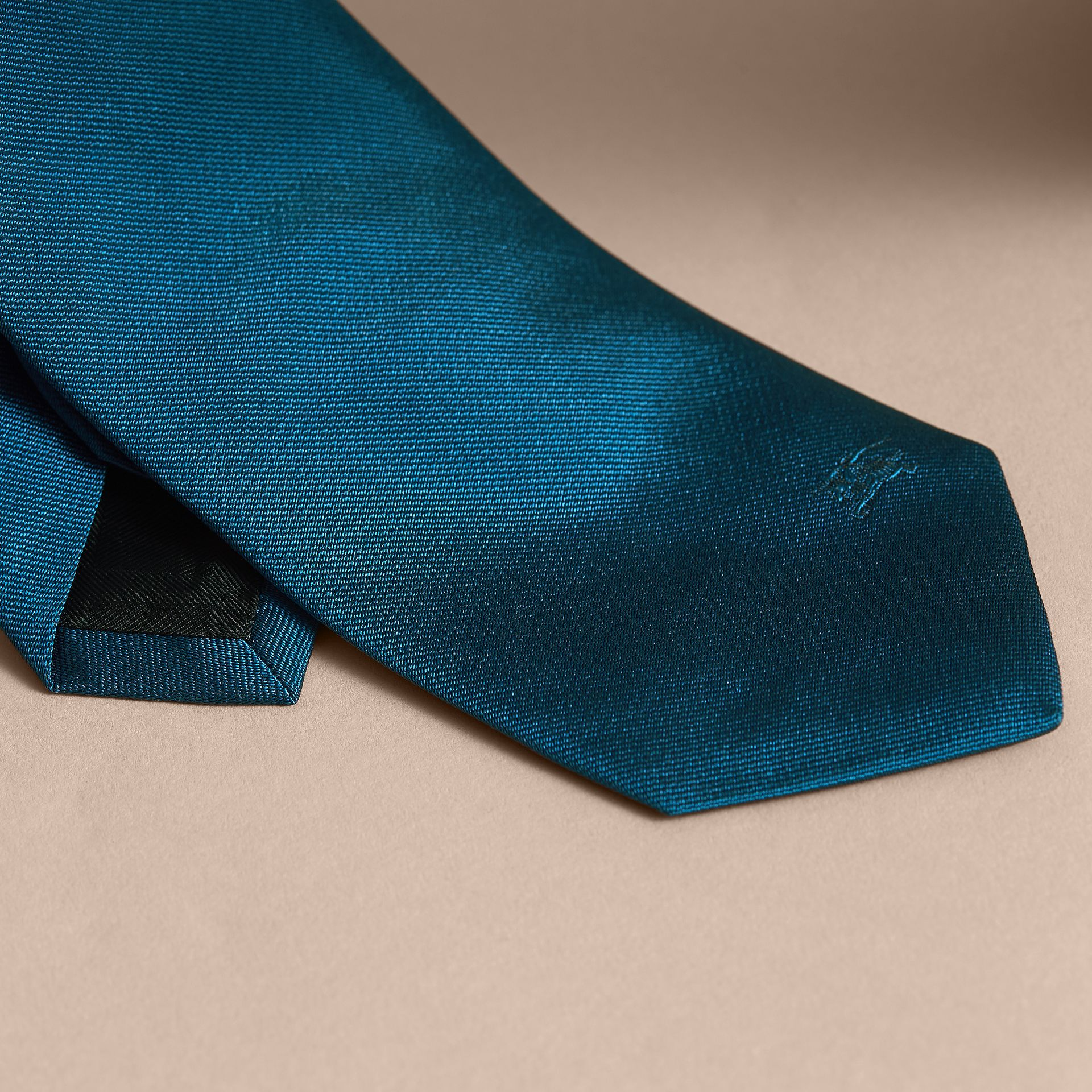Modern Cut Silk Twill Tie in Bright Blue - gallery image 2