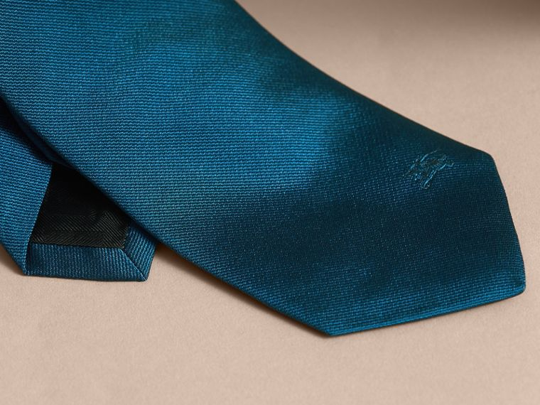 Modern Cut Silk Twill Tie in Bright Blue - cell image 1