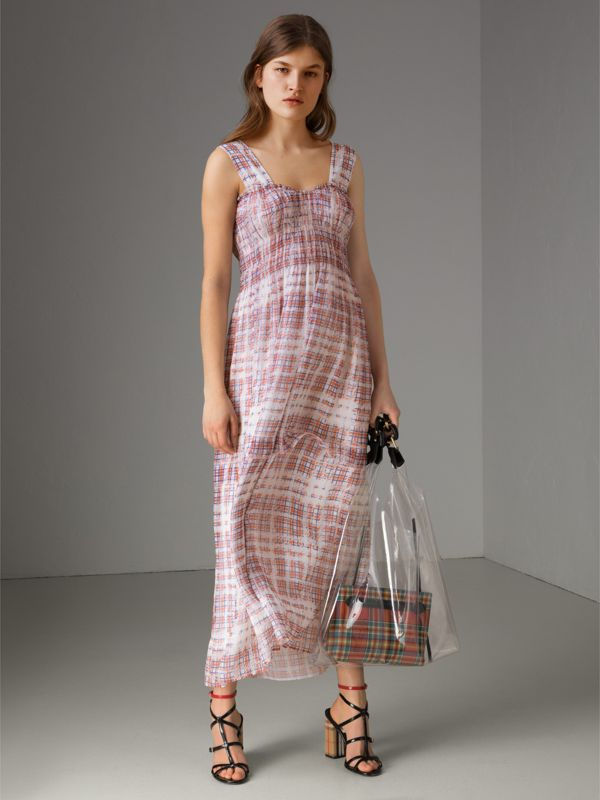 Gathered Scribble Check Silk Dress in Military Red - Women | Burberry United Kingdom - cell image 3
