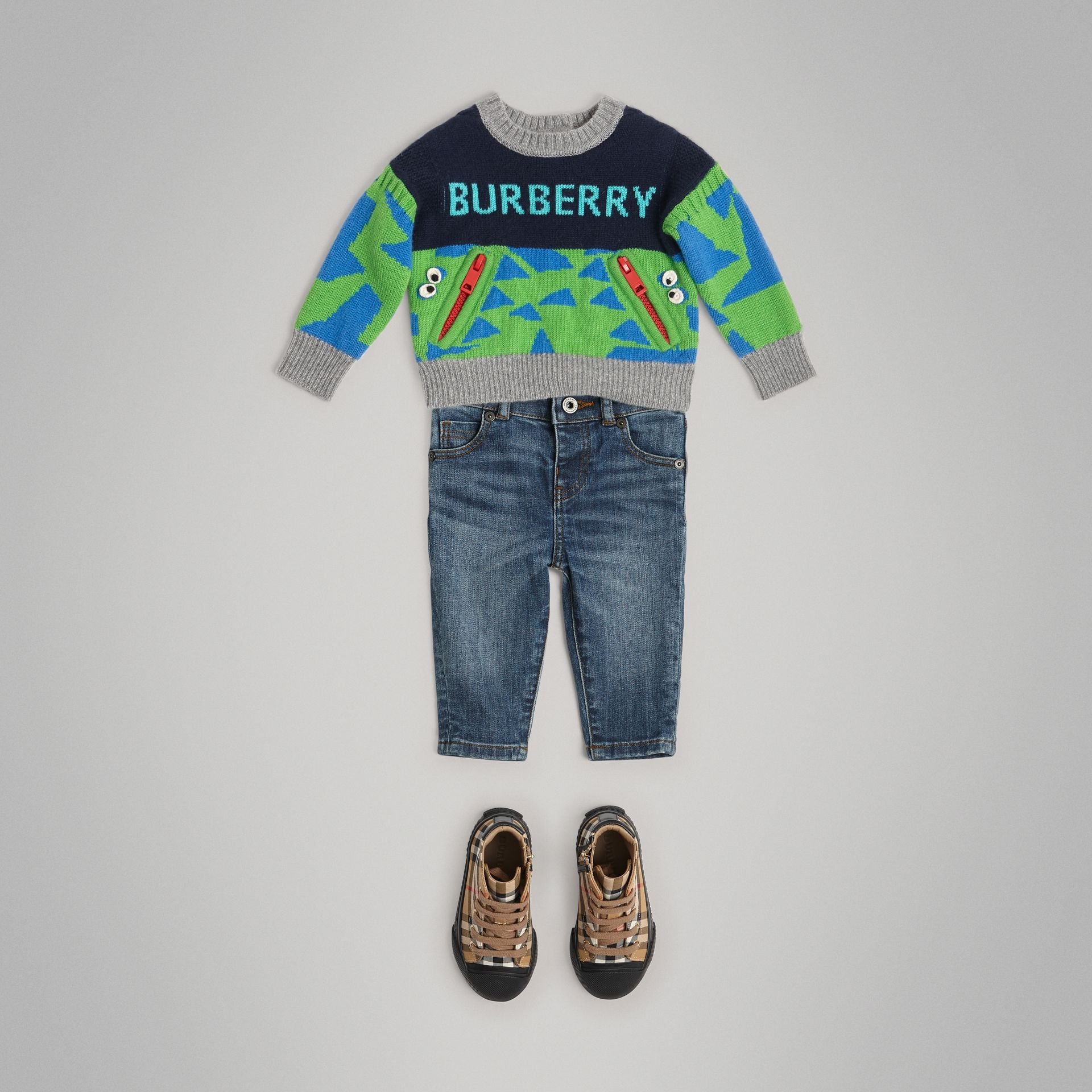 Skinny Fit Stretch Denim Jeans in Mid Indigo - Children | Burberry Singapore - gallery image 2