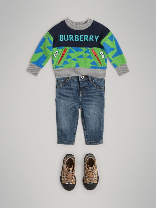 Skinny Fit Stretch Denim Jeans in Mid Indigo - Children | Burberry Singapore - cell image 2