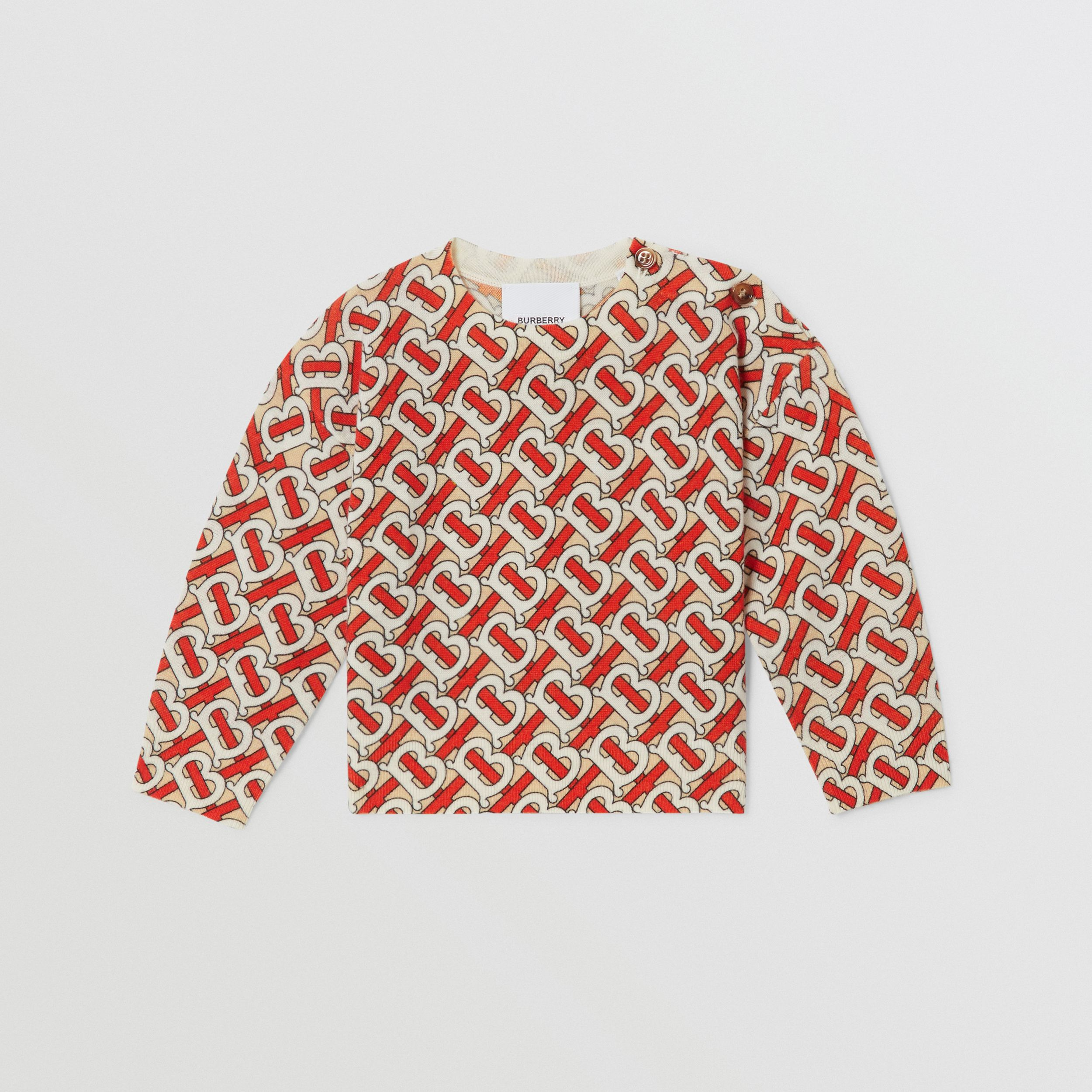Monogram Print Merino Wool Sweater in Vermilion Red - Children | Burberry - 1