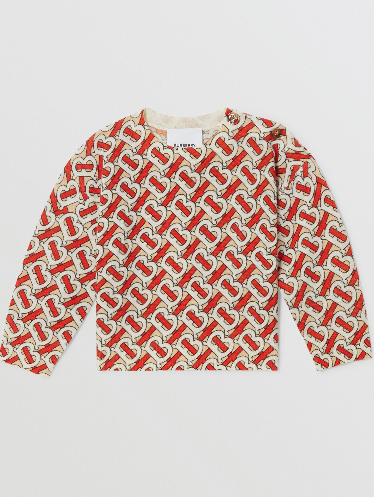 Monogram Print Merino Wool Sweater in Vermilion Red