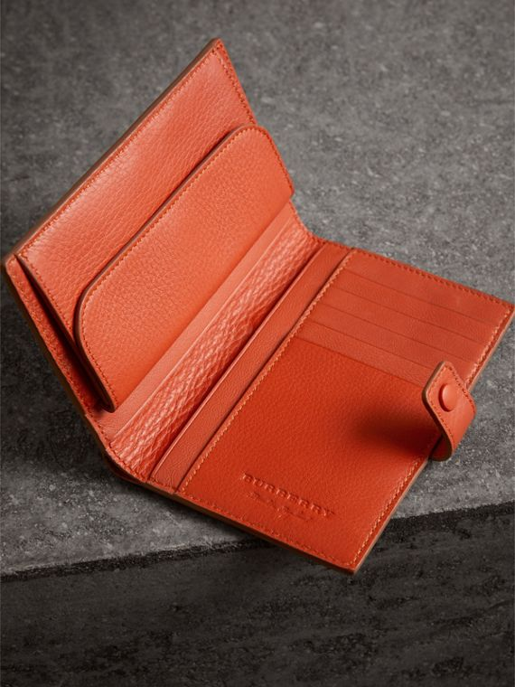 Embossed Grainy Leather Folding Wallet in Dark Clementine | Burberry - cell image 3
