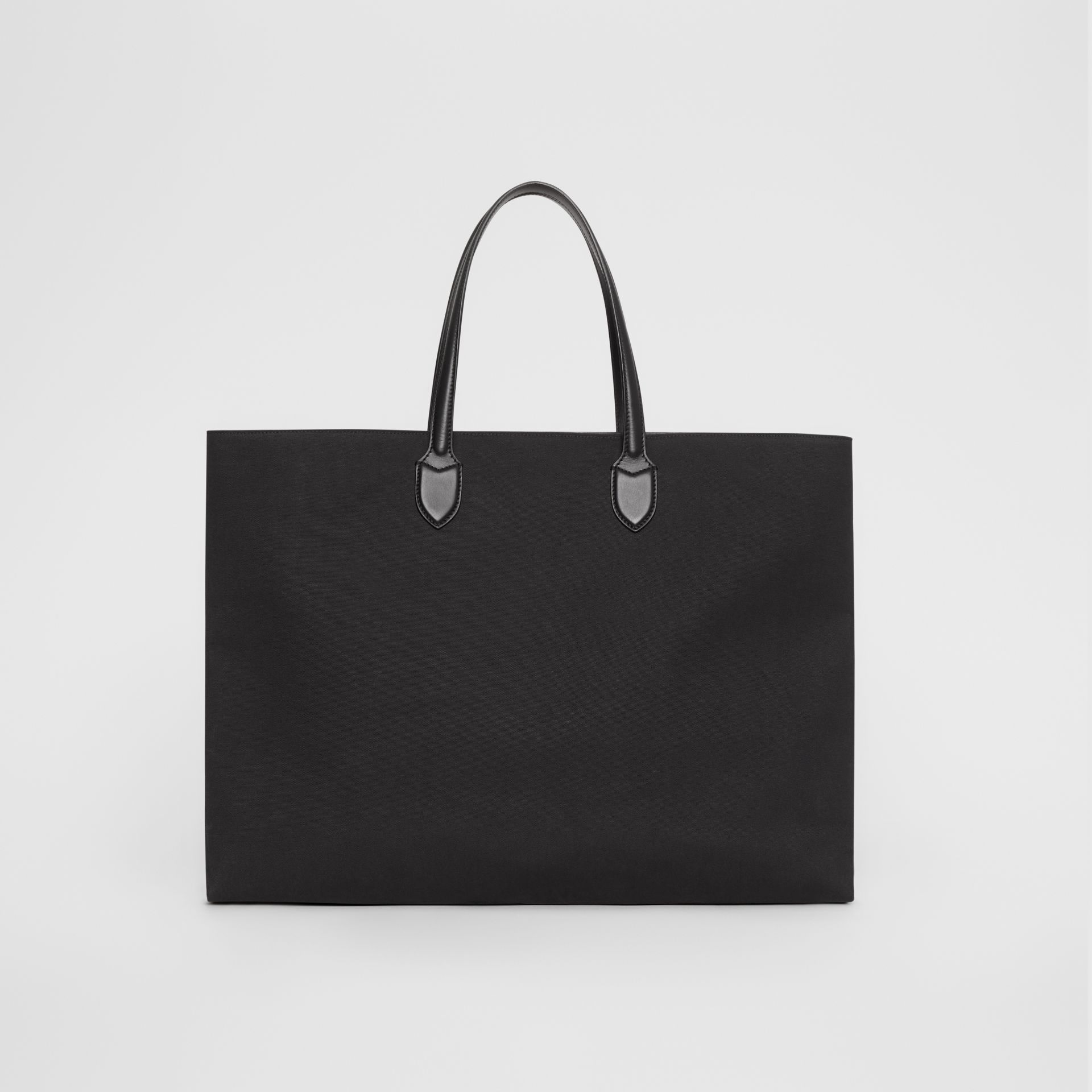 Logo Detail Cotton Blend Tote in Black | Burberry - gallery image 5