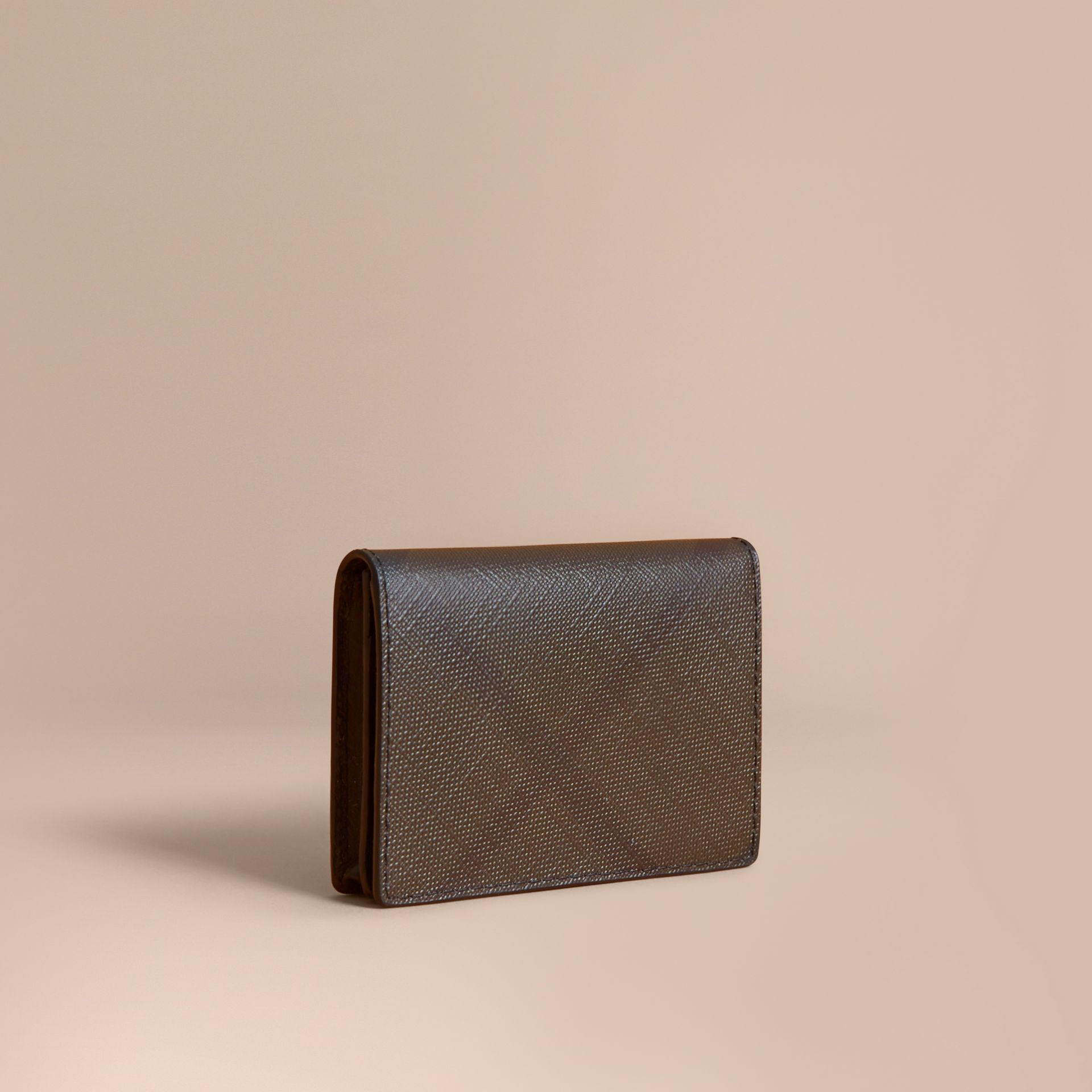 London Check and Leather Folding Card Case in Chocolate/black - Men | Burberry United Kingdom - gallery image 0