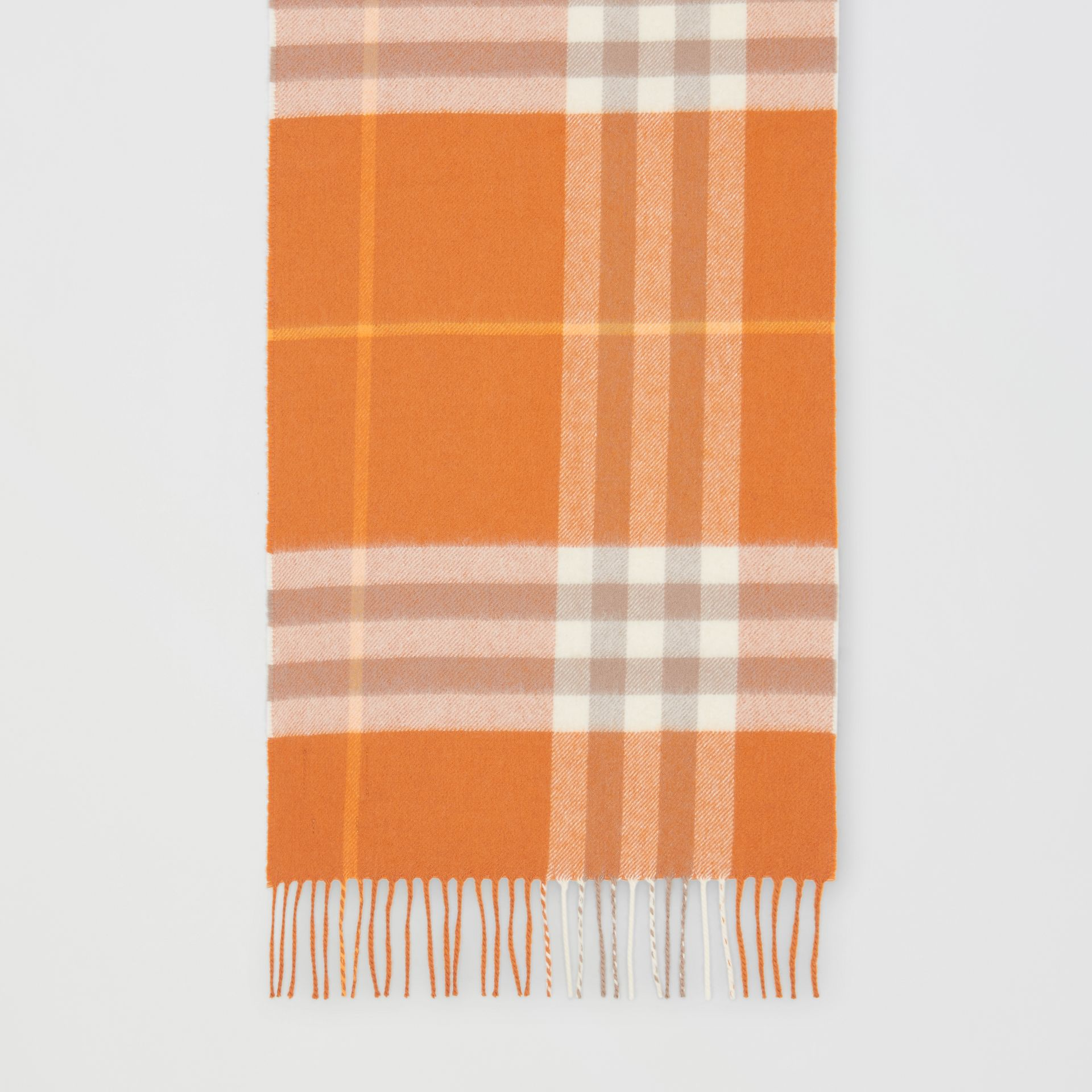 The Classic Check Cashmere Scarf in Bright Melon | Burberry - gallery image 3