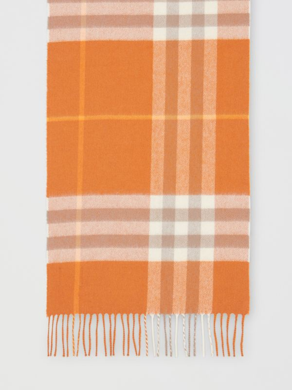 The Classic Check Cashmere Scarf in Bright Melon | Burberry - cell image 3