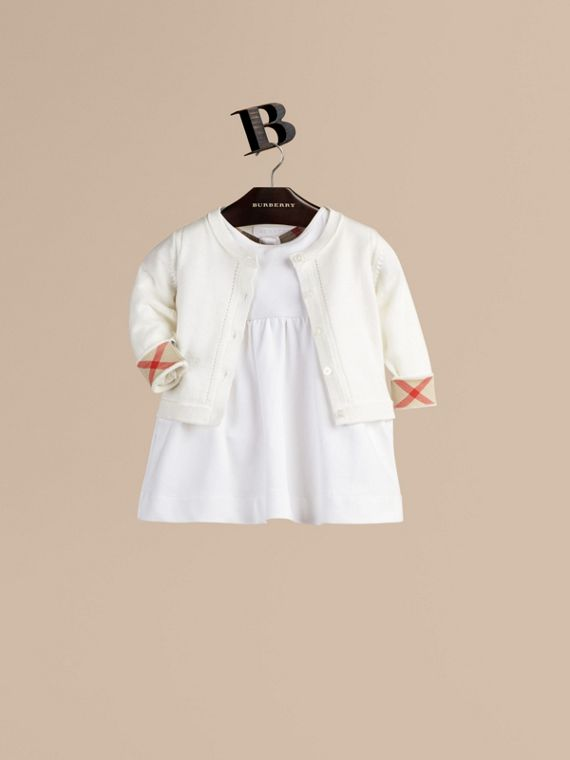 Check Cuff Cotton Cardigan White