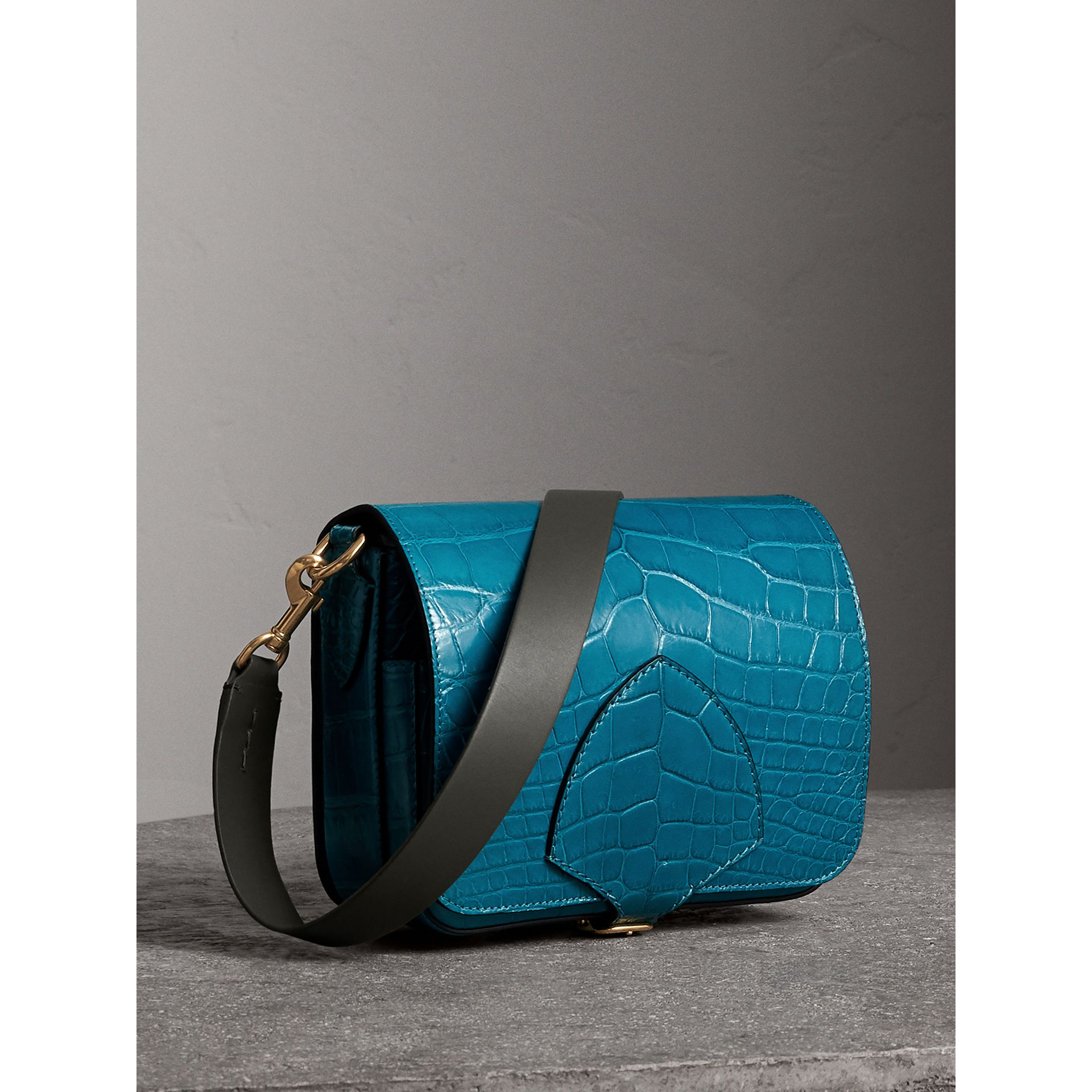 The Square Satchel in Alligator in Dark Teal - Women | Burberry - gallery image 8