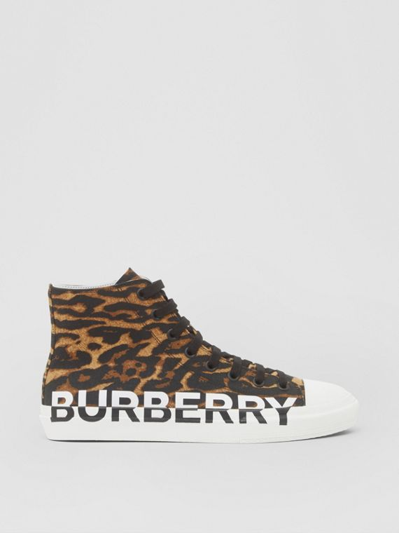 Logo and Leopard Print High-top Sneakers in Brown