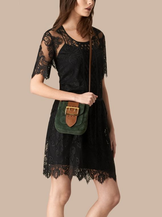 Dark forest green The Small Square Buckle Bag in Suede and Leather Dark Forest Green - cell image 2