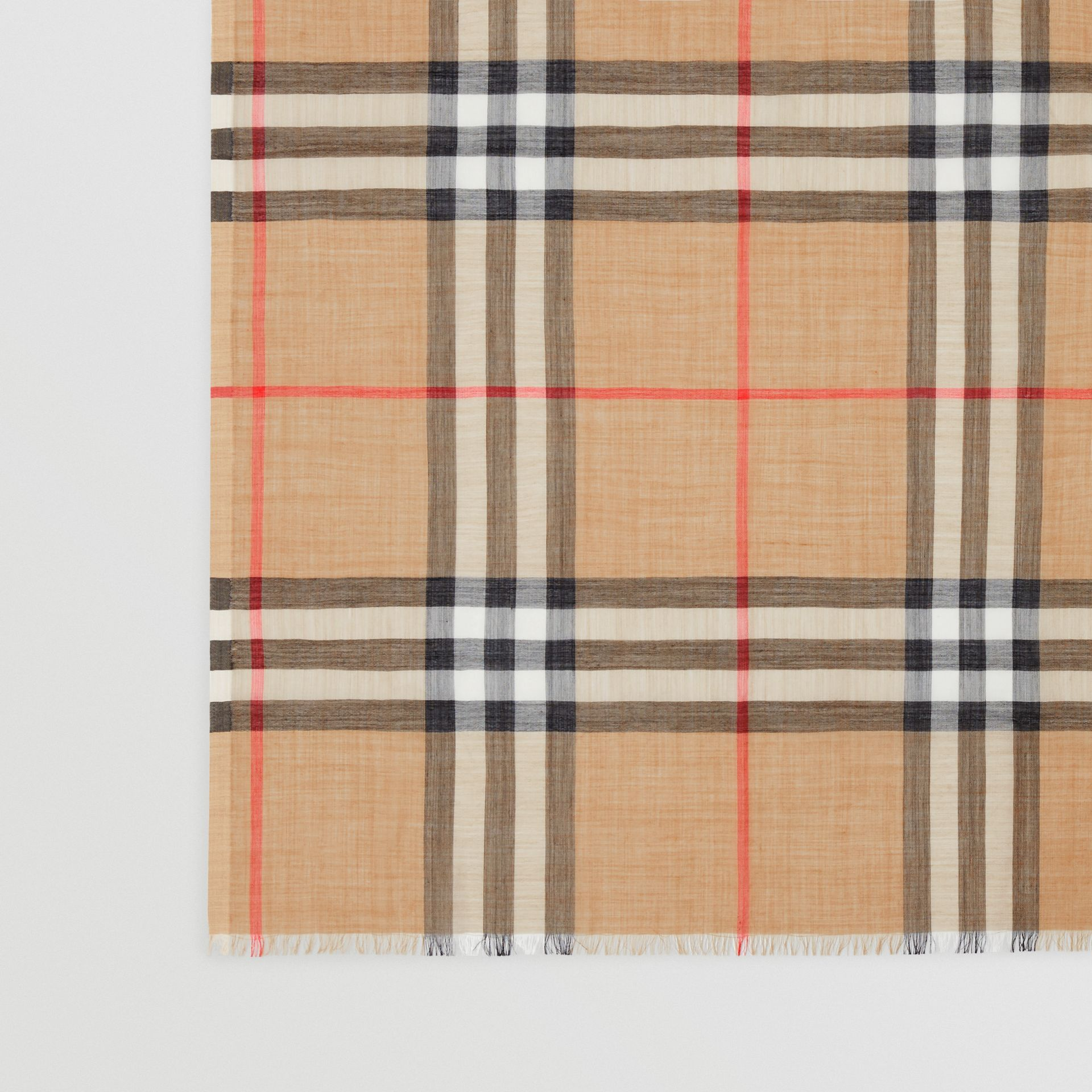 Lightweight Check Wool Silk Scarf in Archive Beige | Burberry - gallery image 1