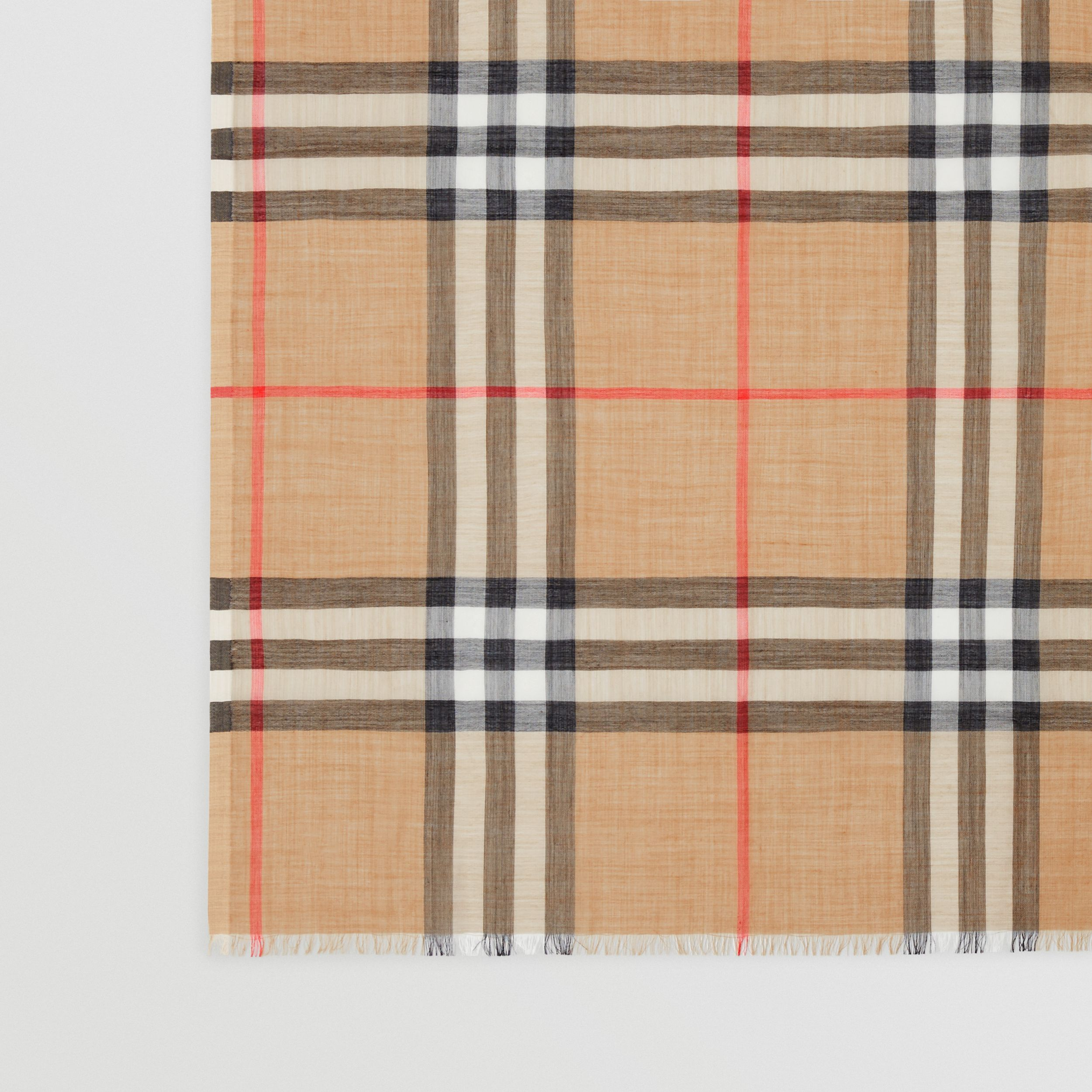 Lightweight Check Wool Silk Scarf in Archive Beige | Burberry - 2