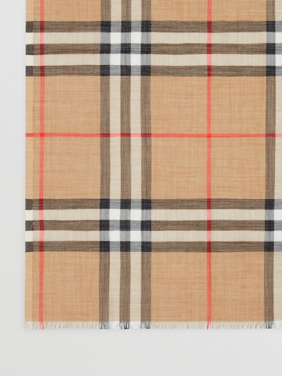 Lightweight Check Wool and Silk Scarf in Camel | Burberry - cell image 1
