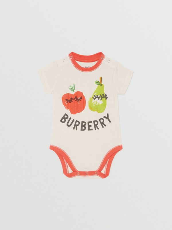 Fruit and Flower Print Three-piece Baby Gift Set in Stone - Children | Burberry - cell image 3