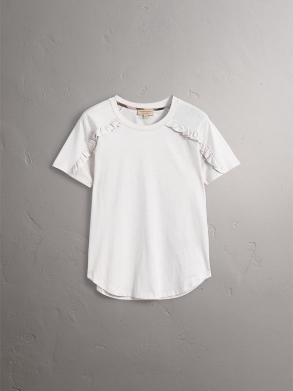 Ruffle Detail Cotton Jersey T-shirt in Winter White - Women | Burberry - cell image 3