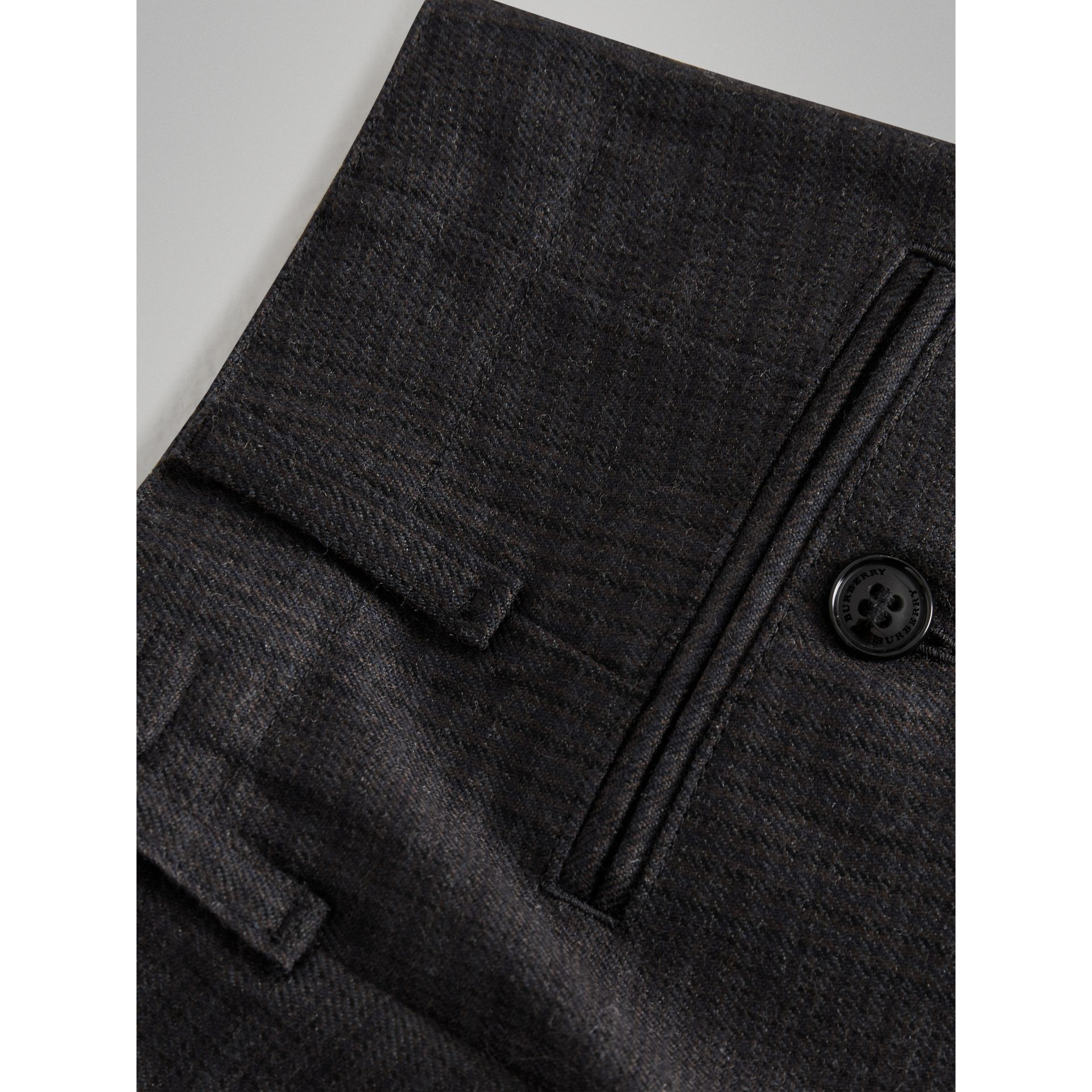 Prince of Wales Check Wool Tailored Trousers in Dark Grey | Burberry Australia - gallery image 1