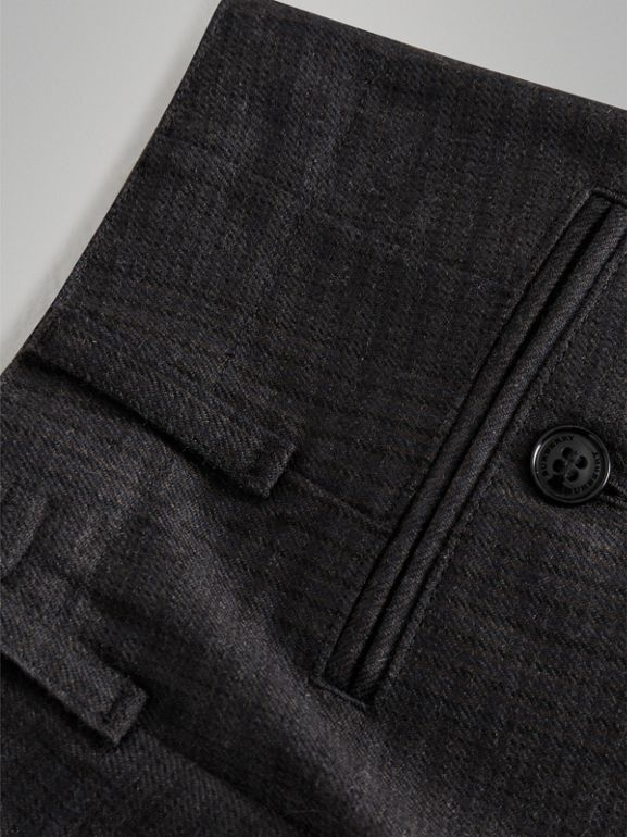 Prince Of Wales Wool Tailored Trousers in Dark Grey | Burberry Singapore - cell image 1