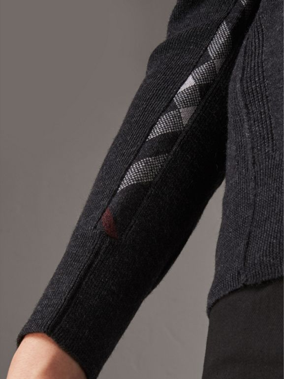 Check Detail Merino Wool V-neck Sweater in Charcoal - Men | Burberry Canada - cell image 1