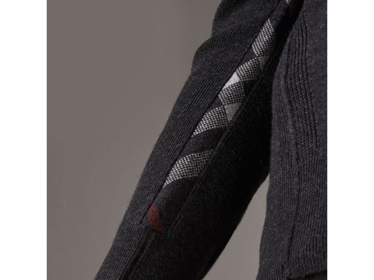 Check Detail Merino Wool V-neck Sweater in Charcoal - Men | Burberry Singapore - cell image 1